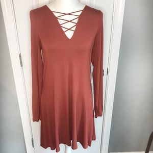Express Burnt Orange long sleeve dress, Medium
